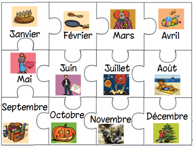 The months of the year - in French